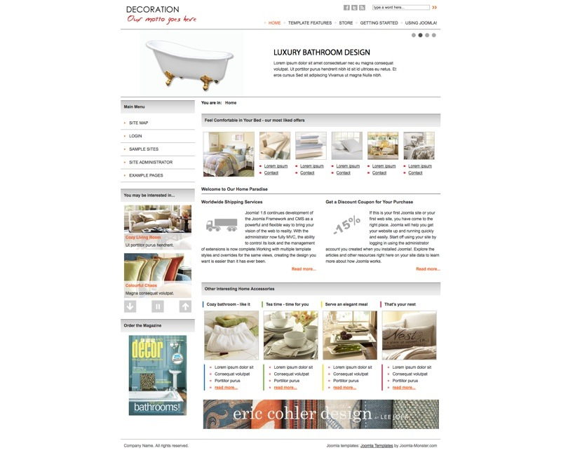 Шаблон JM Home Deco Store для Joomla 2.5