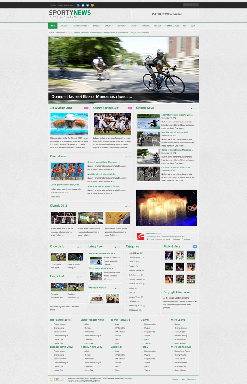 Шаблон TF SportyNews для Joomla 2.5