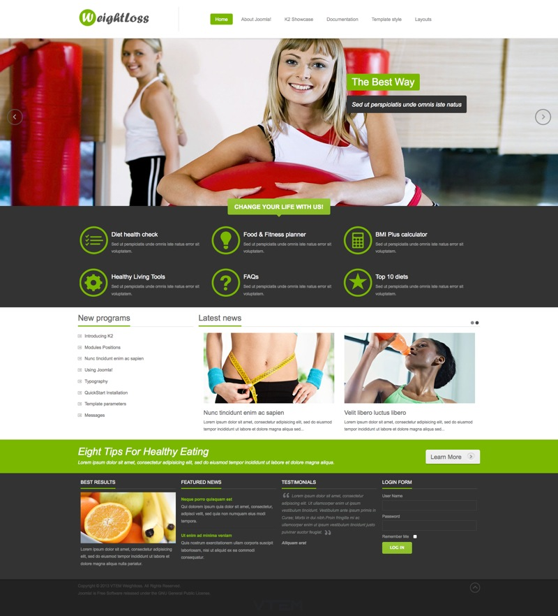 Шаблон VT WeightLoss для Joomla 3.0 / 2.5