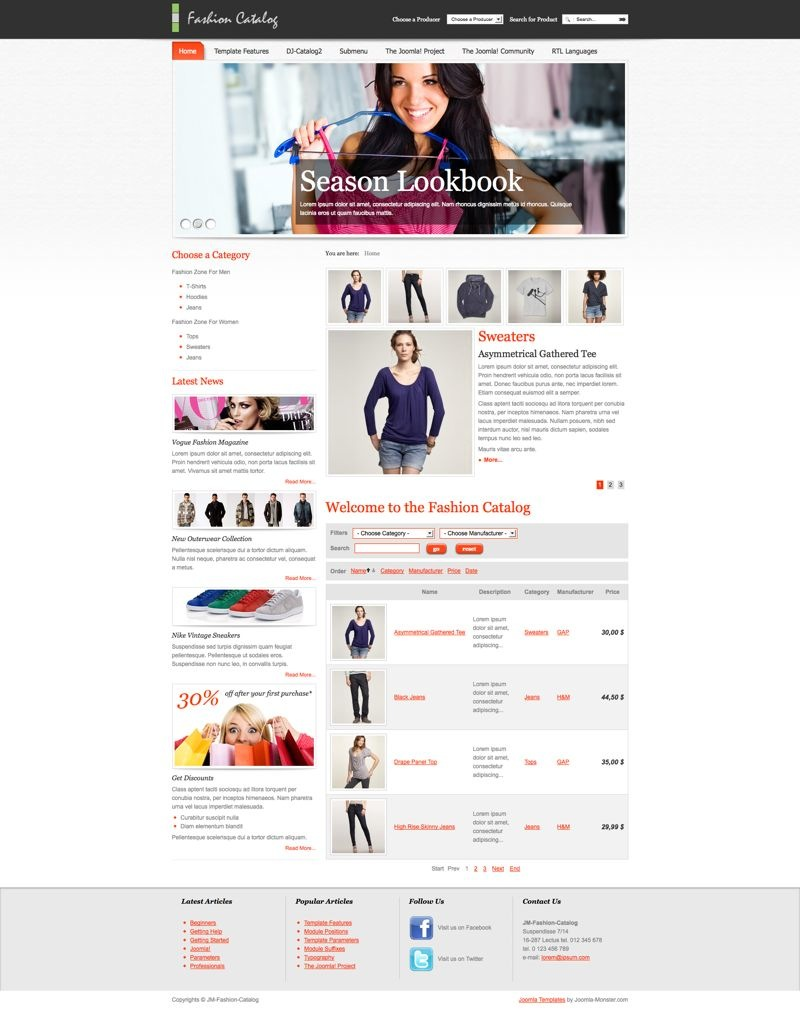 Шаблон JM Fashion Catalog для Joomla 2.5